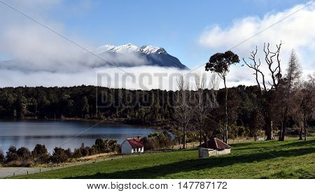 Te Anau Downs at Lake Te Anau. Mountains of Fiordland National Park's in the background.