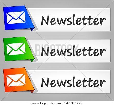 Illustration of newsletter paper design web buttons