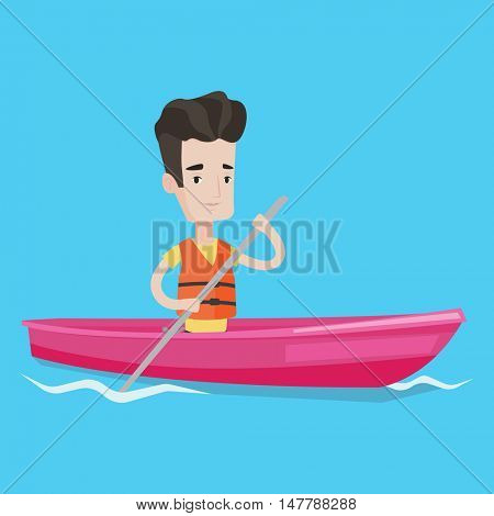 Sportsman riding in a kayak in the river. Young caucasian man traveling by kayak. Male kayaker paddling. Man paddling a canoe. Vector flat design illustration. Square layout.