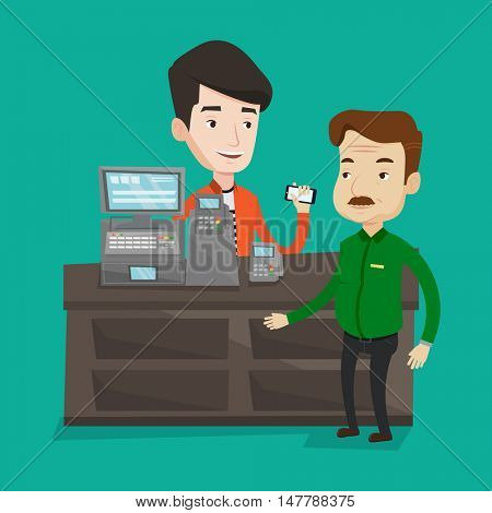 Man paying wireless with his smartphone at the supermarket checkout . Customer making payment for purchase with smartphone. Cashier accepting payment. Vector flat design illustration. Square layout.