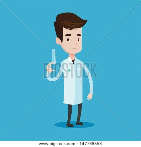 Doctor holding medical injection syringe. Young doctor standing with syringe. Doctor holding a syringe ready for injection. Vector flat design illustration isolated on blue background. Square layout.