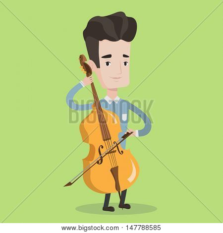 Young man playing cello. Cellist playing classical music on cello. Young man with cello and bow. Vector flat design illustration. Square layout.