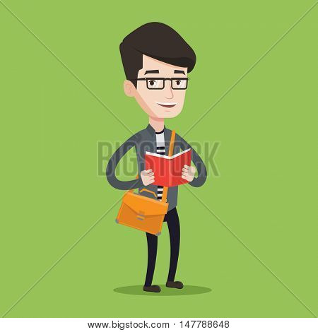 Smiling student reading a book. Cheerful male student reading a book and preparing for exam. Student standing with book in hands. Concept of education. Vector flat design illustration. Square layout.