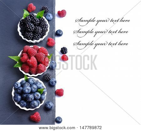 Sweet berry on the board on white background.