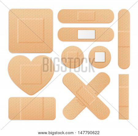 Aid Band Plaster Strip Medical Patch Set. Different Types. Vector illustration
