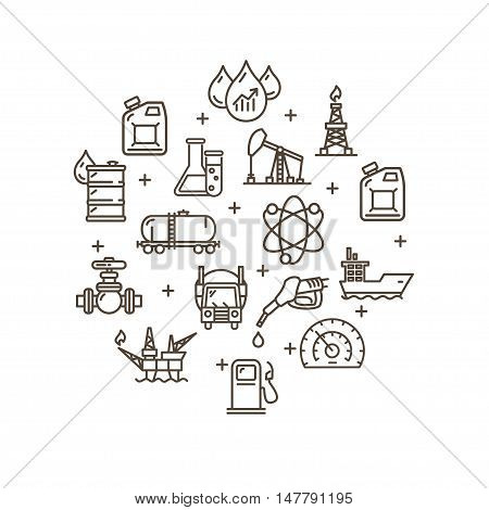 Oil Industry Round Design Template Outline Icon Set Pixel Perfect Art. Material Design. Vector illustration