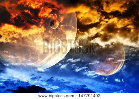 Beautiful sunset with storm sky and planets. Elements of this image furnished by NASA. 3d render