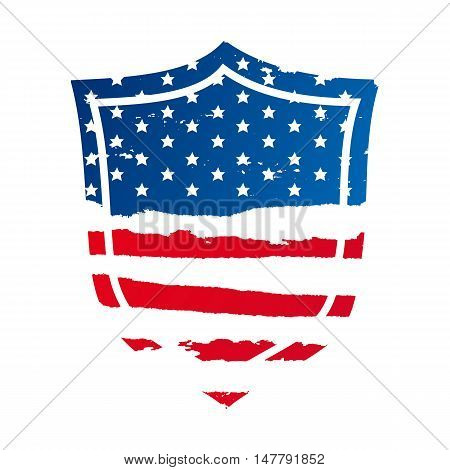 The shield in the form of an American flag. Veterans Day. Vector illustration on white background. Element for design