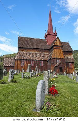 Traditional medieval norwegian stave church. Ringebu stavkyrkje. Travel Norway. Vertical