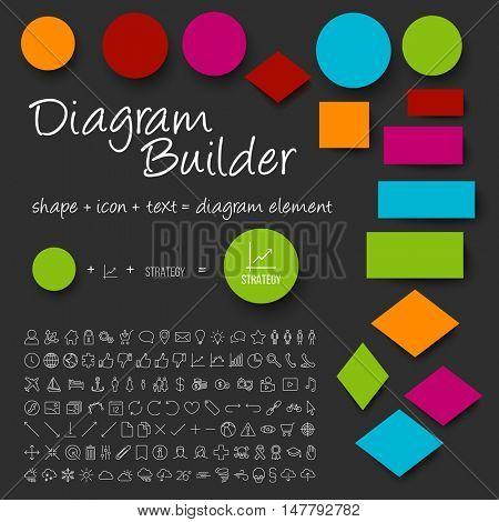 Vector schema diagram builder set - diy any diagram you need