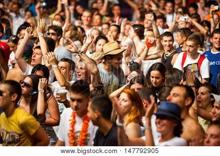 BUDVA- JULY 19 : CROWD IN FRONT OF THE DANCE PARADISO STAGE AT SEA DANCE FESTIVAL 2015 MUSIC FESTIVAL JULY 19 2015 IN BUDVA JAZ BEACH MONTENEGRO