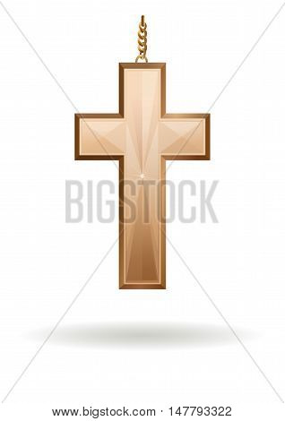 Golden cross on the gold chain isolated on white background. Christian Cross. Christian Symbol. Gold cross. Symbol of the Christian faith - Cross. Vector illustration