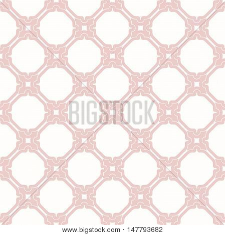 Seamless ornament. Modern geometric pattern with repeating elements. Pink and white pattern