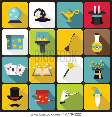 Magic icons set in flat style. Magic tricks set collection vector illustration
