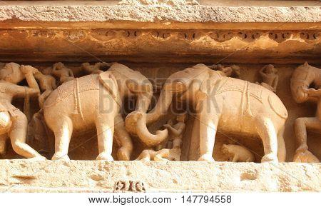 Famous elephants sculptures at temple in Khajuraho, India