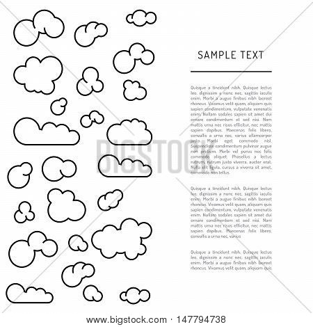 Set of icons and diagrams of the typology of clouds in a linear fashion
