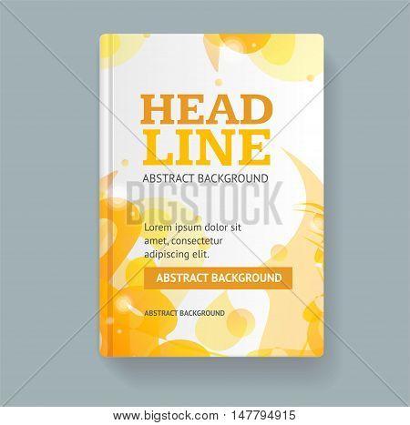 Book Flyer Placard Template Abstract Geometric Orange Swirl. Vector illustration