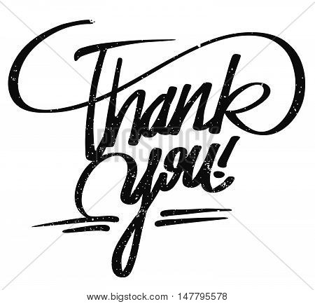 Thank you lettering Pencil Typo Hand drawn Vector Calligrphy Greeting Card Concept poster