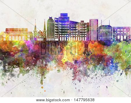 Fresno skyline artistic abstract in watercolor background