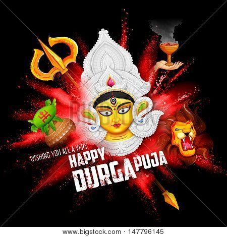 illustration of goddess Durga in Subho Bijoya (Happy Dussehra) background with Durga Puja Greeting