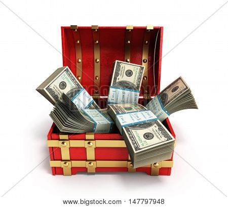 Pack Of Dollar Bills Inside A Red Wooden Chest 3D Render On A White Background