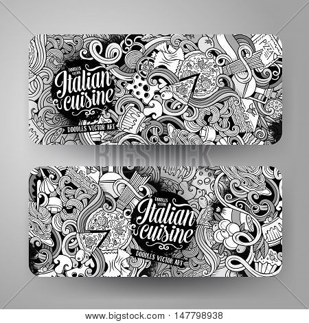 Cartoon cute sketchy vector hand drawn doodles italian food corporate identity. 2 horizontal line art banners design. Templates set