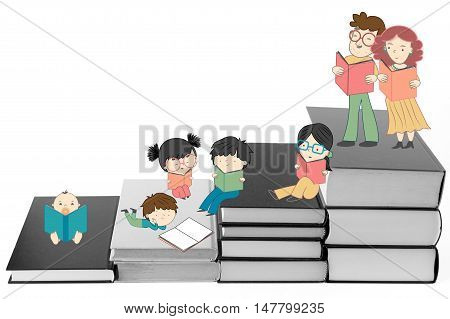 Boys and girls reading on stairs of book for children education and young culture growth illustration