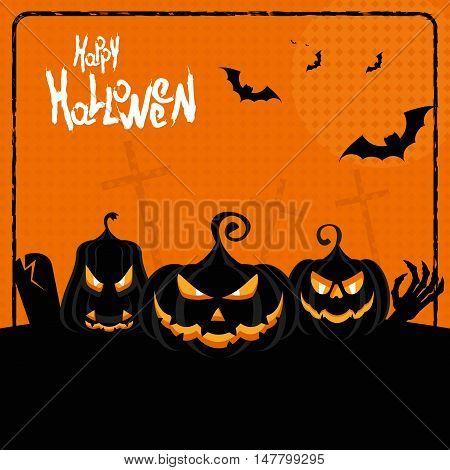 Halloween Poster Three Pumpkins