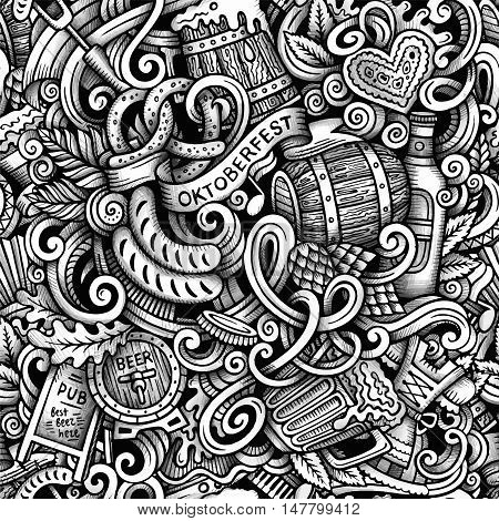 Cartoon hand-drawn doodles Octoberfest seamless pattern. Line art trace detailed, with lots of objects vector background