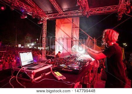 BUDVA- JULY 18 : JAMES ZABIELA ON THE DANCE PARADISO STAGEAT SEA DANCE FESTIVAL 2015 MUSIC FESTIVAL JULY 18 2015 IN BUDVA JAZ BEACH MONTENEGRO