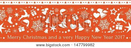 Flat monochrome border design with Christmas and winter symbols that will tile seamlessly horizontally and the text: Merry Christmas and a very Happy New Year 2017