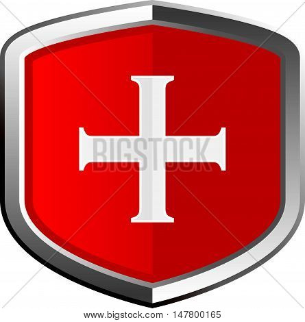 Shiny Red Cross Shield or Medical Icon