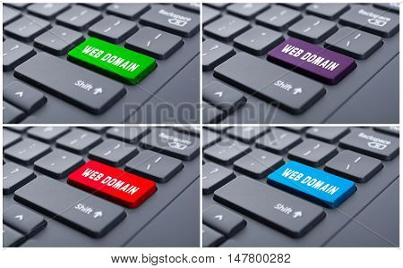 Keyboard With Colorful Web Domain Buttons