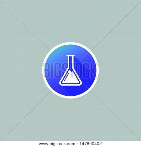 Modern Chemistry Flask or Beaker Icon with Long Shadow