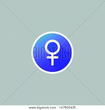 Modern Female Symbol Icon with Long Shadow