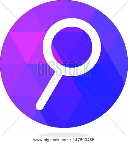 Modern Low Poly Magnifier Glass or Search Icon with Long Shadow