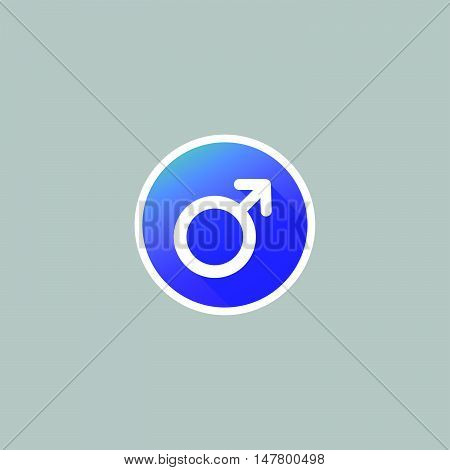 Modern Round Male Symbol Icon with Long Shadow