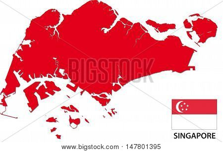 Silhouette map of the Republic of Singapore with flag