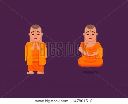 Stock vector illustration of a Buddhist monk is meditating and hovering above the ground while praying in a flat style on a dark background