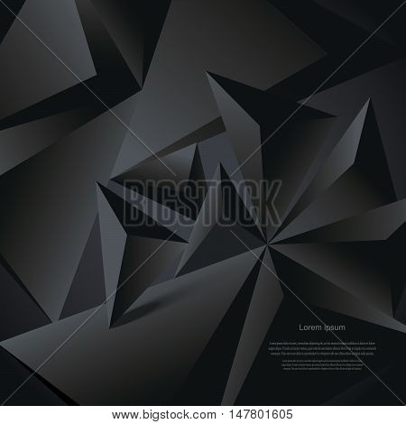 Abstract black vector background geometrical polygonal form. Can be used in cover design book design website background CD cover advertising