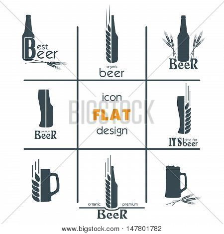 Creative flat icon set design. Sign or Symbol. Logo Template. Vector illustration
