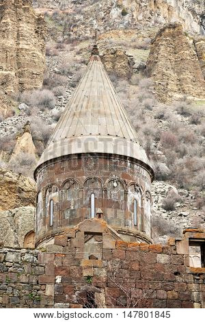 Ancient monastery Geghard in the mountains of Armenia. Was founded in 4th century.
