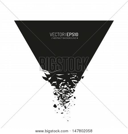 Black triangle with debris isolated on white background. Abstract black explosion. Geometric background. Vector illustration
