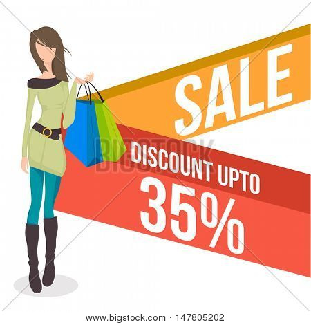 Sale with Discount upto 35%, Creative Poster, Banner or Flyer design with illustration of a young girl holding shopping bags.