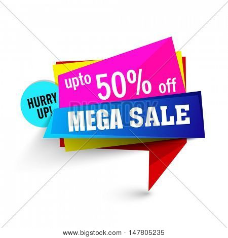 Colorful elegant, Mega Sale Tag or Banner with Discount Upto 50% Off - Hurry Up!