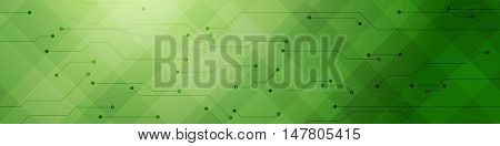Green abstract tech banner with circuit board. Bright vector header technology design