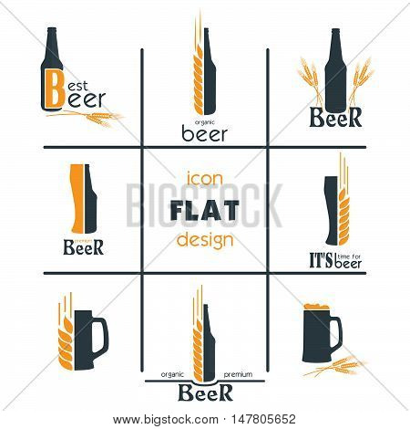 Vactor set flat beer icon design. Sign or Symbol. Logo Template