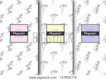 Set of labels packaging for organic shop or natural cosmetics. Vector floral patterns with tender colors - yellow pink purple. Template for packing product.