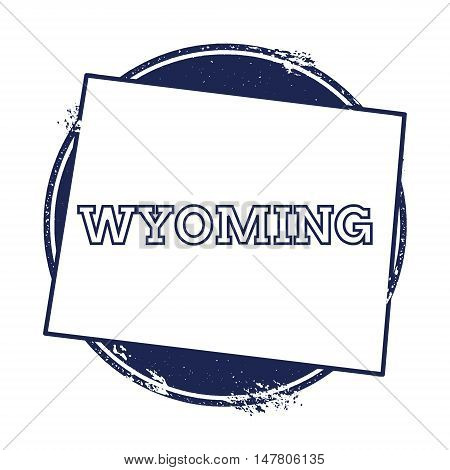 Wyoming Vector Map. Grunge Rubber Stamp With The Name And Map Of Wyoming, Vector Illustration. Can B