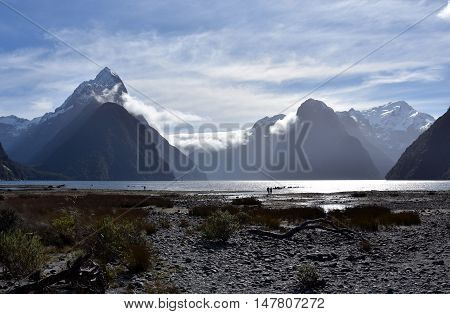 Milford Sound at low tide. Mitre Peak (Fiordland New Zealand). 8th wonder of the world.
